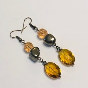 Exotic Dark Topaz Quartz Crystal & Pyrite Earrings
